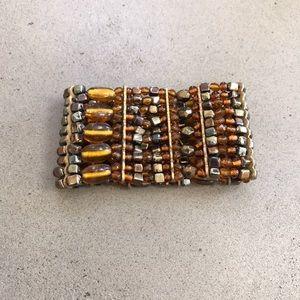 New, Anthropologie Beaded Wide Stretch Bracelet